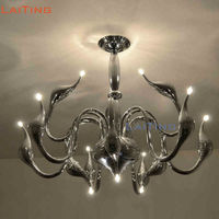 By DHL Italy Swan Chandelier Light Fixture 18 Black White Color Hanging Lamp with G4 LED Bulbs