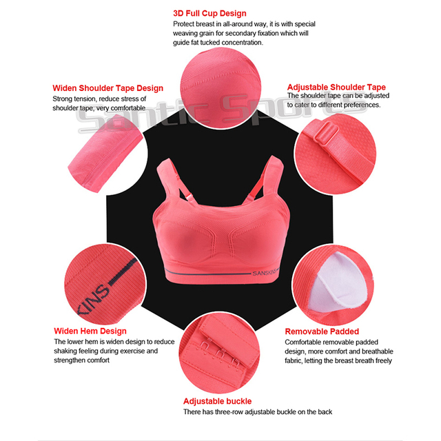 Santic Cycling Bra Base Layer Sport Full Cup Underwear Comfortable Shockproof Women Bra Wire Free Seamless Padded Bicycle Bra