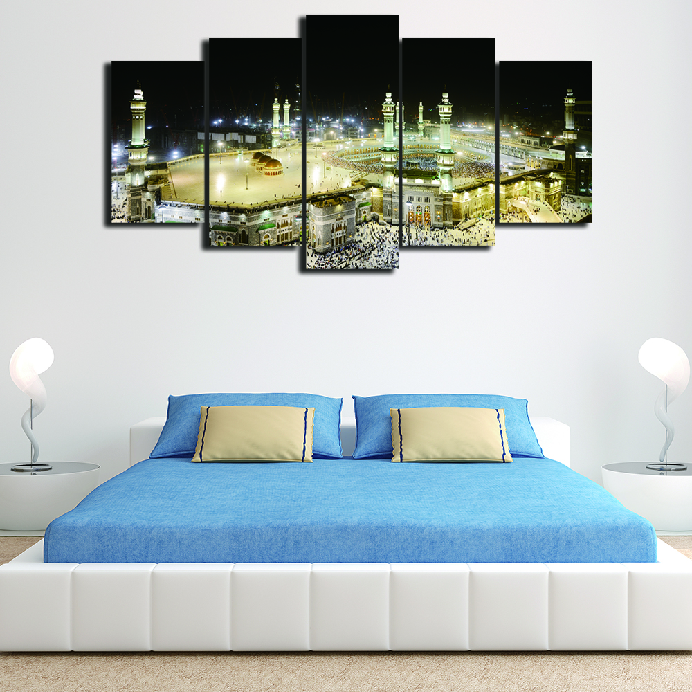 5 pieces canvas wall art hd print framed islamic muslim for Modern home decor pieces