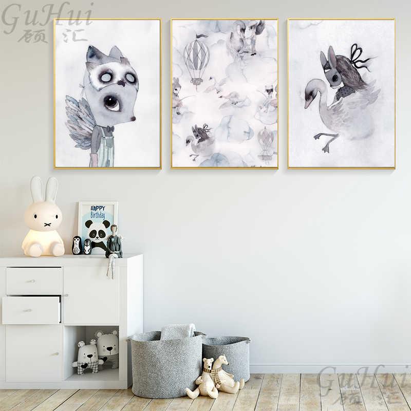 Nordic акварель мультфильм качели кролика для девочек и мальчиков облако Лебедь холст картина ангел плакат стены фотографии дома детская комната украшения