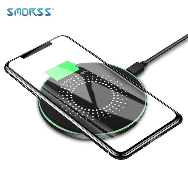 SMORSS 10 W Qi Беспроводной Зарядное устройство для Iphone X/XS Max 8 плюс Беспроводной быстрой зарядки для samsung S9/S9 плюс примечание 9 8 USB Зарядное устройство Pad