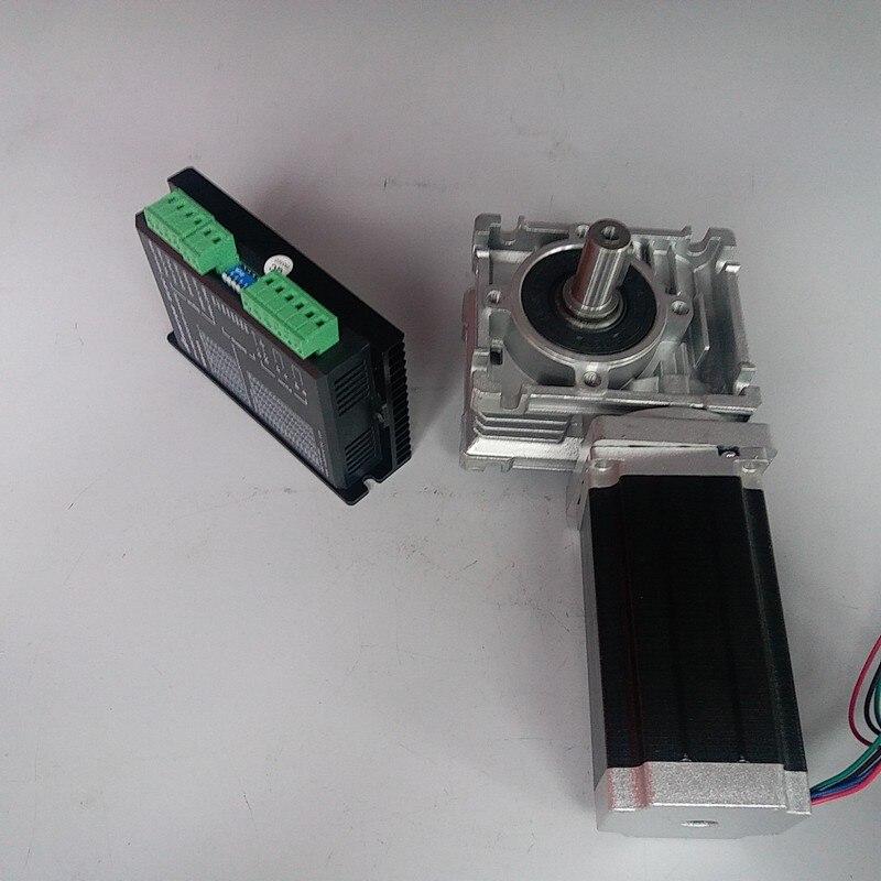 RV040 Redutor de Velocidade RV40 Worm Gearbox Motor de Passo de 18mm de saída kit motorista 12Nm Nema34 1700Oz-in 2ph 4 Fios para CNC Router