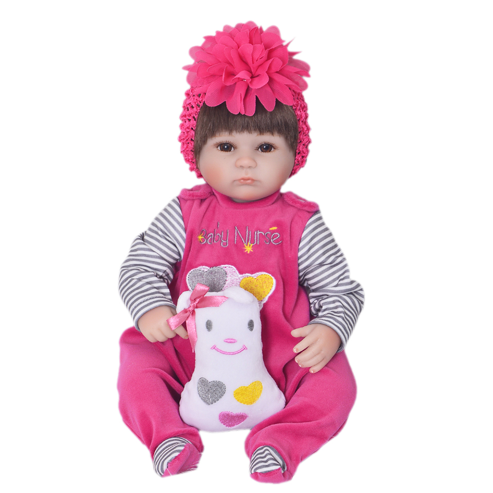 Silicone Soft Realistic Reborn Baby Doll 17 Inch Lifelike Girl Newborn Babies Cloth Body Toy Kids Birthday Xmas Gift handmade 22 inch newborn baby girl doll lifelike reborn silicone baby dolls wearing pink dress kids birthday xmas gift