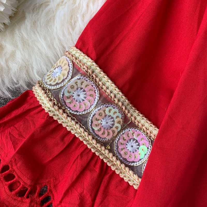 2019 女性中空アウト白のプルオーバーレディーススパンコールデコ綿ブラウス甘い学生ベビーシャツ