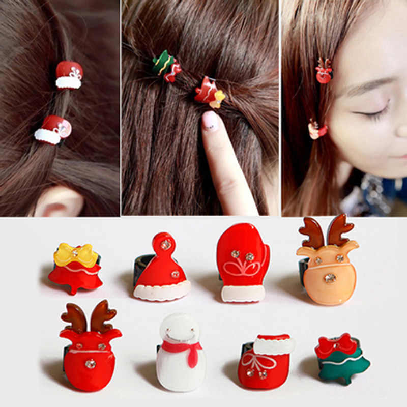 Girl Hair Clips Csristmas Tree Hat Gloves Deer Snowman Kids Claws Lovely For Child Cute Hair Accessories For Student Headwear