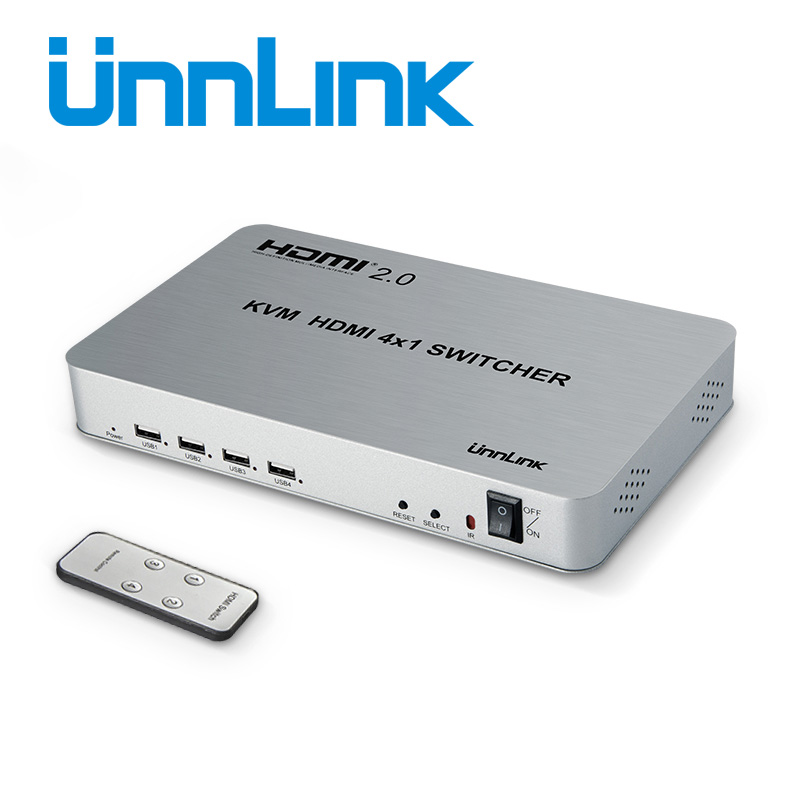 Unnlink HDMI 2.0 4X1 KVM Switch 4 Port USB KVM HDMI Switcher HDCP2.2 HDR 4K@60HZ with IR Remote Control for 4 Hosts Computer mini 4 port 4x1 hdmi switch ultra hd 4k 60hz hdmi 2 0 hdcp 2 2 4 in 1 out switcher box with ir control for ps4 apple tv hdtv