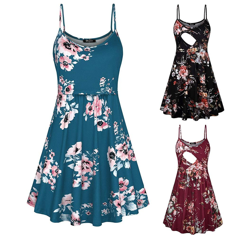 Fashion Flower Print Spaghetti Strap Nursing Maternity Dress for Breastfeeding in Dresses from Mother Kids
