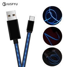 Flowing LED USB Type C Cable For Samsung Galaxy S9 S8 Note 8 Plus Fast Charging Cable For Xiaomi Mi 5 Oneplus 6 USB Type-C Cable ugreen 3a usb type c fast charging cable for samsung galaxy s9 plus usb data cable for xiaomi mi 8 oneplus 6 charger model 30159