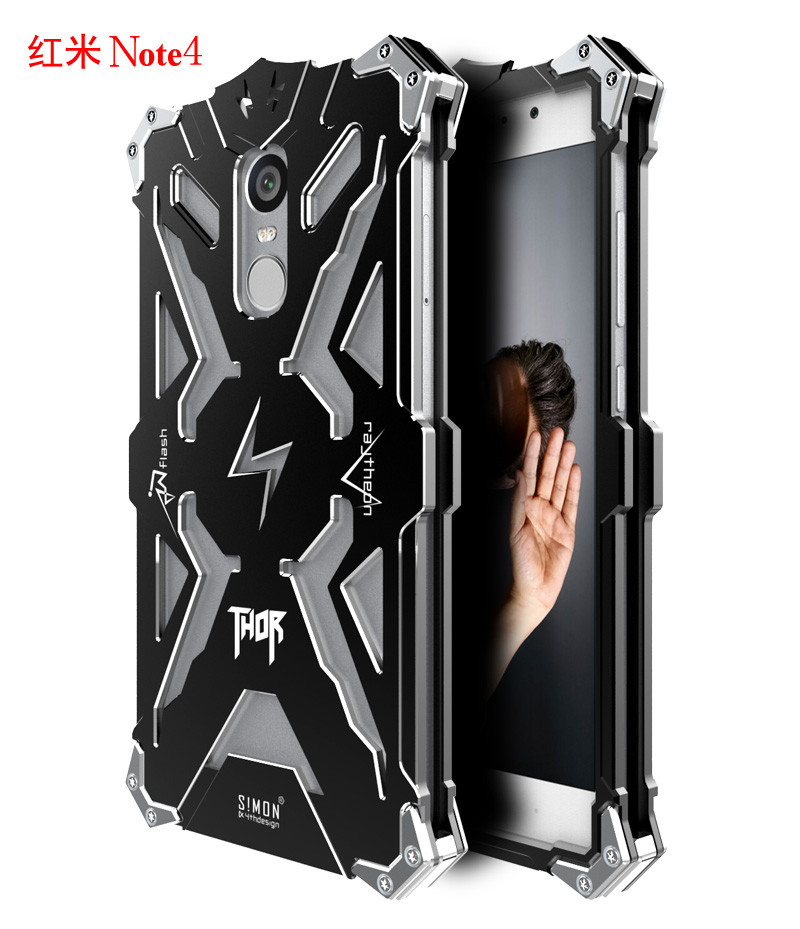 Brand Thor Luxury Heavy Duty Armor Metal Aluminum Mobile Phone Bag Cases For Xiaomi Redmi Note4