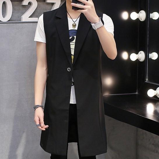 High Quality Men Long Black Vest Sleeveless Jacket Blazer Slim Fit Waistcoat Vest Men Chaleco Hombre Plus Size L-XXXL