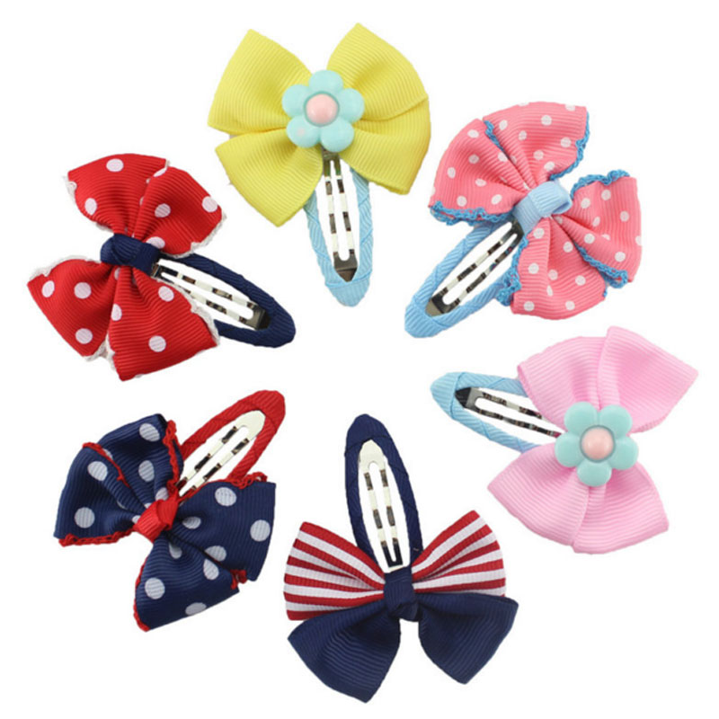 M MISM 2017 New Arrival  Dot Bow Tie Hairpins Lovely Lace Edge Hair Clip For Girls Kids Accessories 3 Colors Hairgrip Headdress m mism new arrival korean style girls hair elastics big bow dot flora ponytail rubber hair rope hair accessories scrunchy women