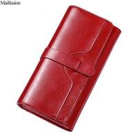 Maillusionออกแบบแฟชั่นGeniuenหนังกระเป๋าสตางค์ผู้หญิงH Aspยาวสุภาพสตรีคลัทช์กระเป๋าสตางค์หญิงกระ