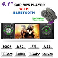 4.1 1 Din Car MP5 Player Audio Stereo Bluetooth USB AUX IN FM Radio OLED Car Radio with Remote Control Support Rear View Camera