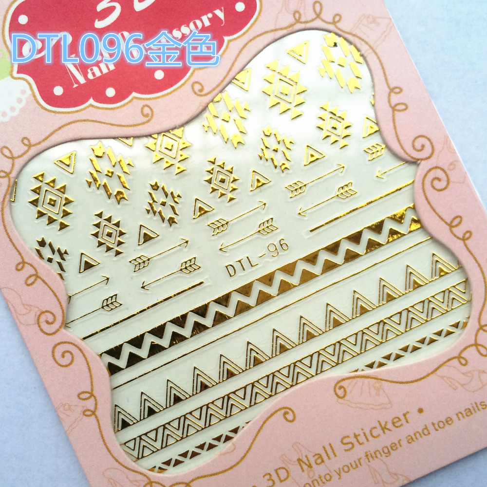 1 Sheet Fashion Nails Art Manicure 3D Gold Decorations Design Water ...