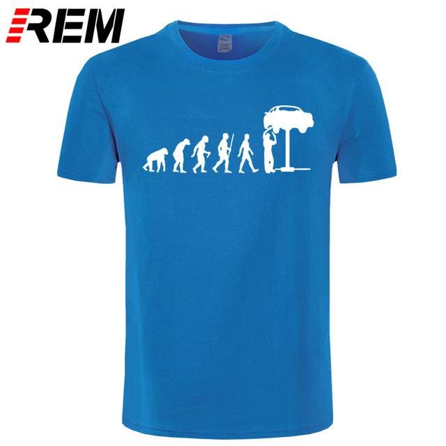 REM Summer Style Evolution Auto Mechaniker Mechanic Car T-Shirt Tops Funny Gift T Shirt For Men Tee 2
