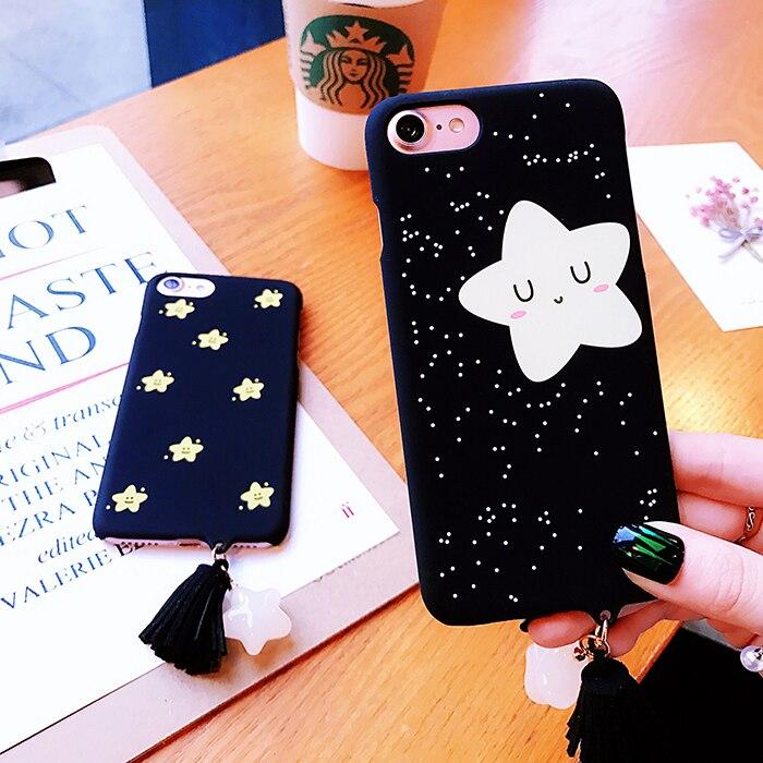 Para iphone 7 case dos desenhos animados estrela piscar preto matte dura do  pc plástico voltar case para iphone 7 6 6 s plus phone cases capa borla b660b7fc1d