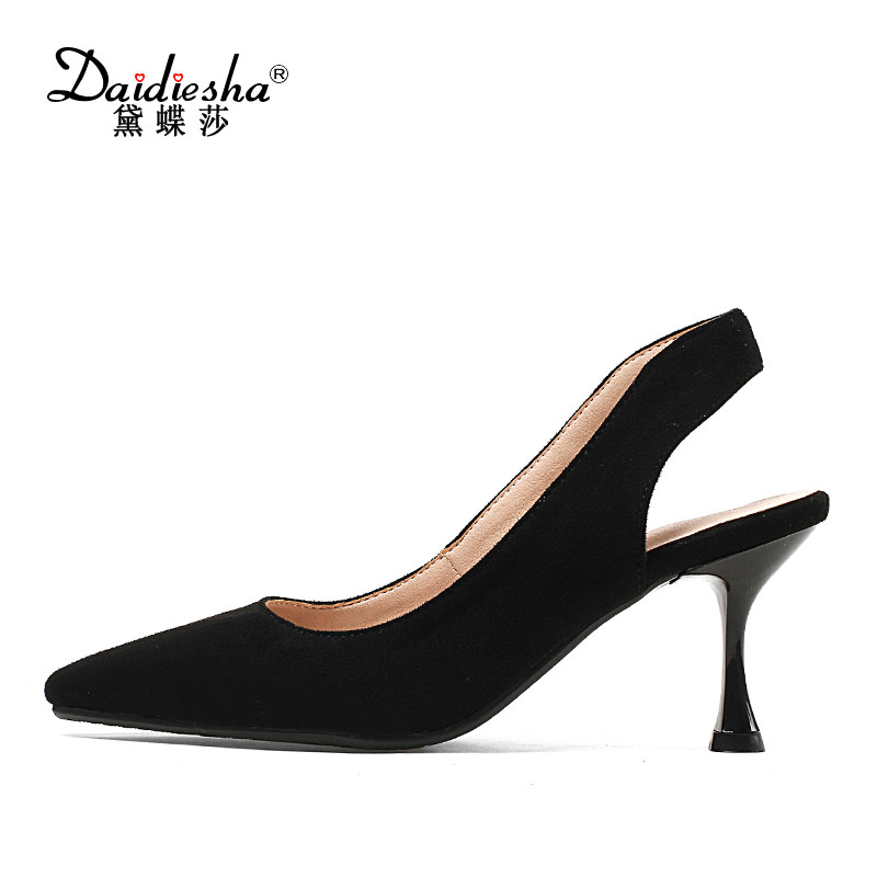 Daidiesha 2018 Spring Shoes Woman High Heel Solid Slingback Ladies Shoes Flock Pointed Toe Footwear Concise Ladies Office Shoes newest solid flock high heel pumps woman