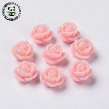 5bc52ee90bc0 50 piezas 9x7mm plana negro HotPink blanco opaco Rosa flor perlas de resina  para la fabricación