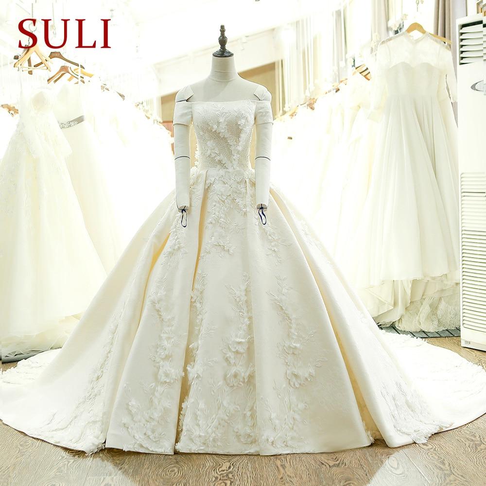SL-128 Custom Made Satin Kortärmad Bollkledda Bröllopsklänning - Bröllopsklänningar - Foto 1