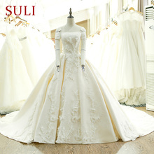 SL-128 Custom Made Satin Pendek Sleeve Ball Gown Wedding Dress 2017