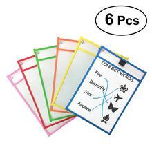 Детские прозрачные карманы для записи и протирания многоразовые карманы для сухого стирания 6 разных цветов с держателем для ручек