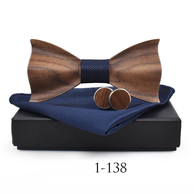Mantieqingway Affaires Bois Bowtie Mouchoir Jeux de boutons de Manchette pour Hommes De Mariage Chemise En Bois Arc Cravate Poche Sqaure Cravate