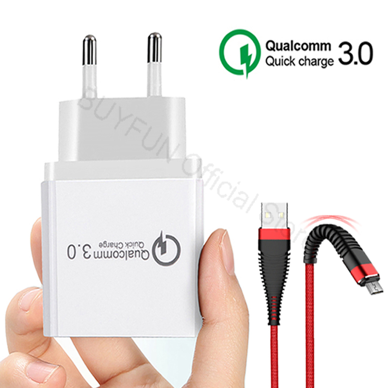 QC3.0 Quick Charger Charger Cable Phone Charger Fast Charging Cable For Samsung Xiaomi Huawei Sony Android Charge Adapter Cord