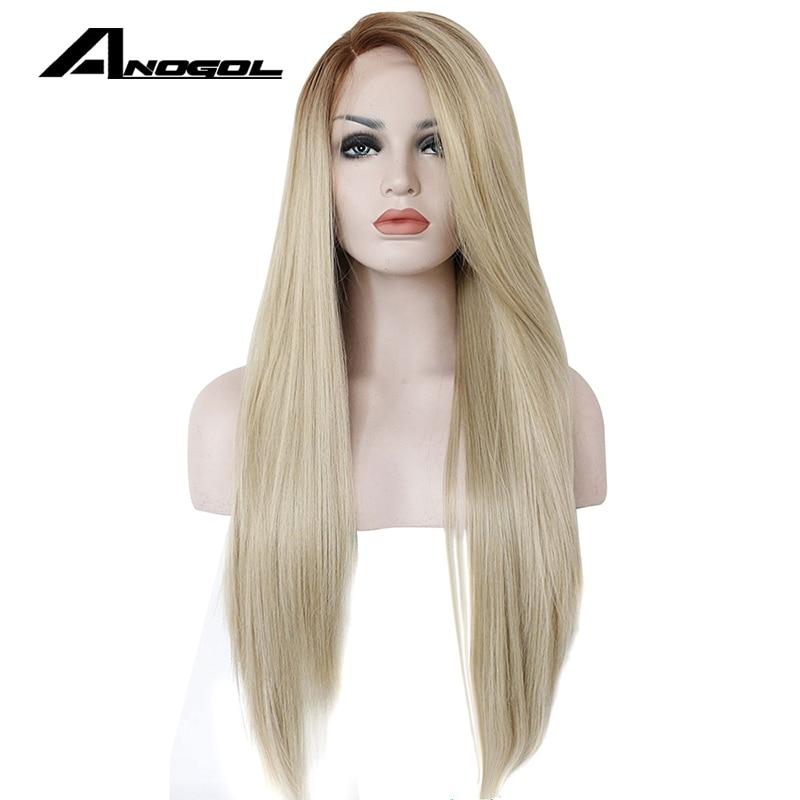 Anogol fibra de alta temperatura glueless longa reta ombre marrom para loira peruca dianteira do laço sintético para mulher branca