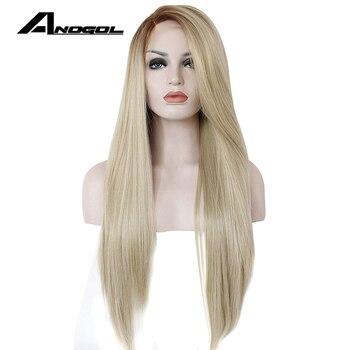 Anogol Yüksek Sıcaklık Fiber Tutkalsız Uzun Düz Ombre Kahverengi Sarışın Sentetik Dantel ön peruk Beyaz Kadınlar için