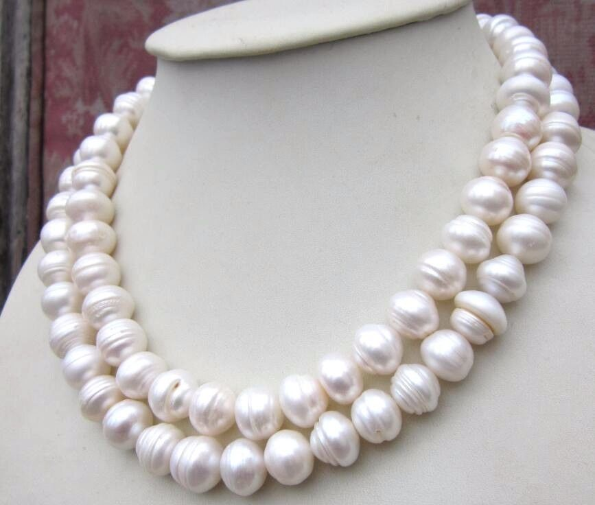 """HUGE Natural AAA11-12MM NATURAL SOUTH SEA BAROQUE WHITE PEARL NECKLACE 35/"""""""