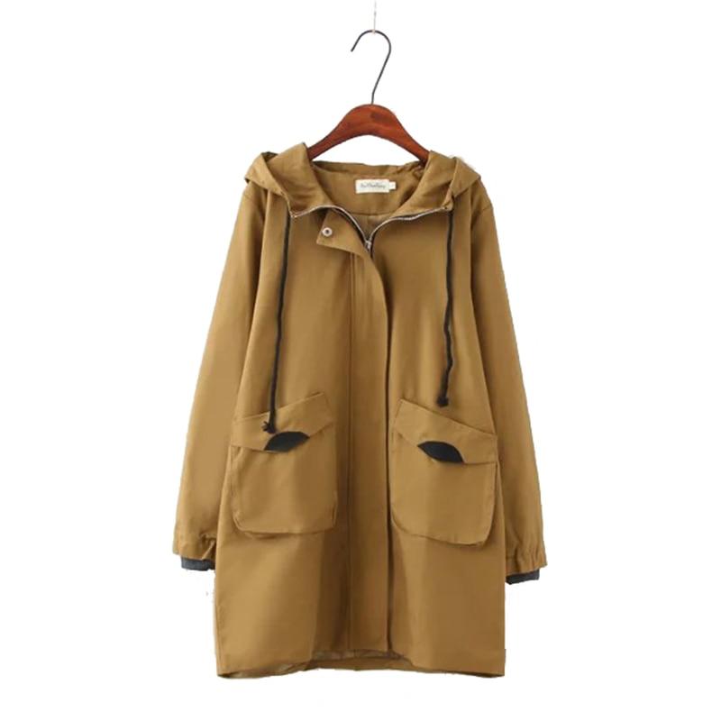 Plus size XL 4XL women's hooded windbreaker 2019 spring autumn Korean Loose wild show medium long hooded   trench   coat for women