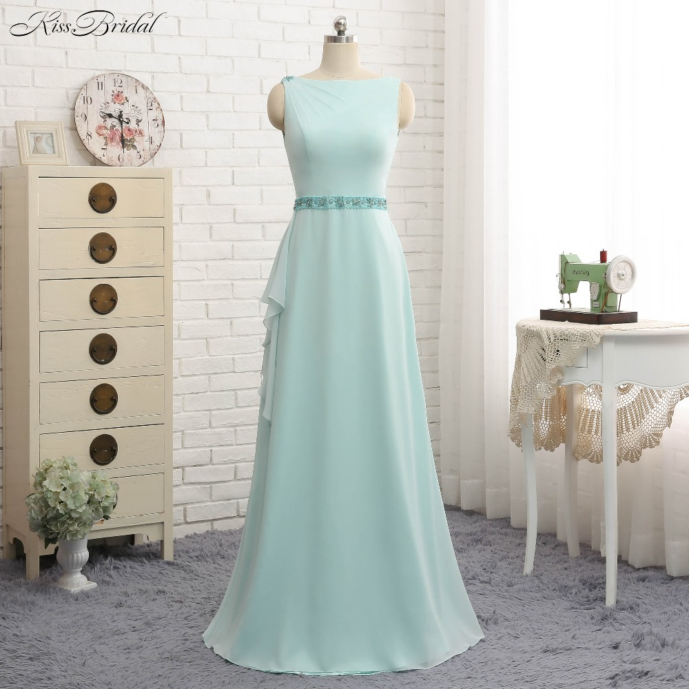 Fashion New Mermaid   Bridesmaid     Dresses   Boat Neck Cap Sleeve Floor Length Chiffon Wedding Party   Dresses   Brautjungfernk