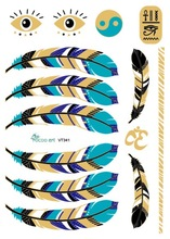 21X15cm Blue Gold Golden Large Tattoo Stickers Indian Feather Flash Tattoos Glitter Temporary Tattoo Sexy Products