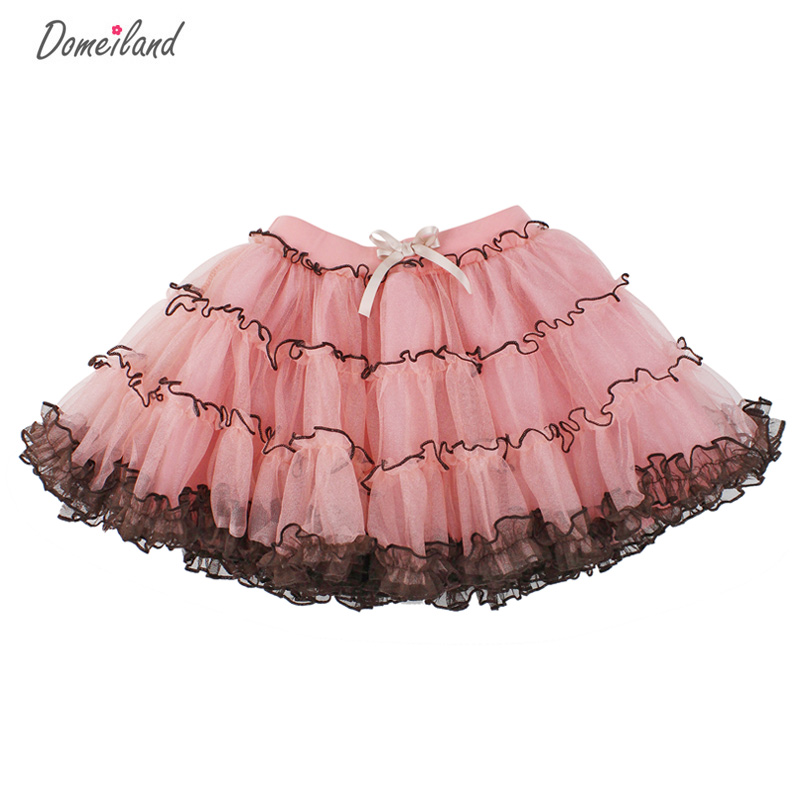 2017 Fashion domeiland Summer clothing Children baby kids birthday party Tutu cotton girls Skirts Chiffon Bow lace layer Skirt