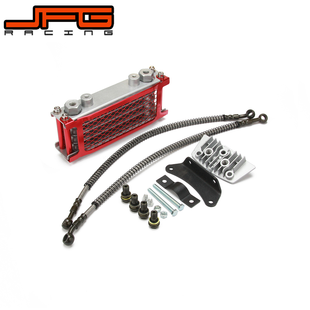 Aluminum Oil Cooler Radiator Bracket Cooling Set For Zongshen Lifan Loncin Kayo Apollo Xmotos 50CC 70CC 90CC 110CC Dirt Pit Bike heavy duty manual clutch set for 50cc 70cc 90cc 110cc 125cc dirt pit bike complete clutch set