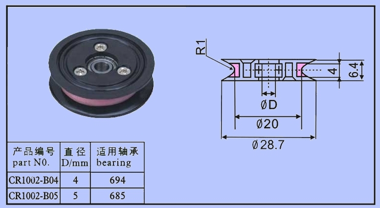 Wire guide pulleys Assembled ceramic pulley CR1002-B04B05 high precious aluminium guide pulleys capstans with coating ceramic