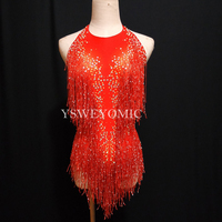 2 color Red Purple Big Stretch Party Prom Bar Outfit Stage Female Singer Show Romper Tassel Stage Bodysuit for Women