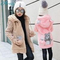 2017 Lovely Rabbit And Little Bear Winter Girls Faux Fur Fleece Coat Warm Jacket Xmas Snowsuit