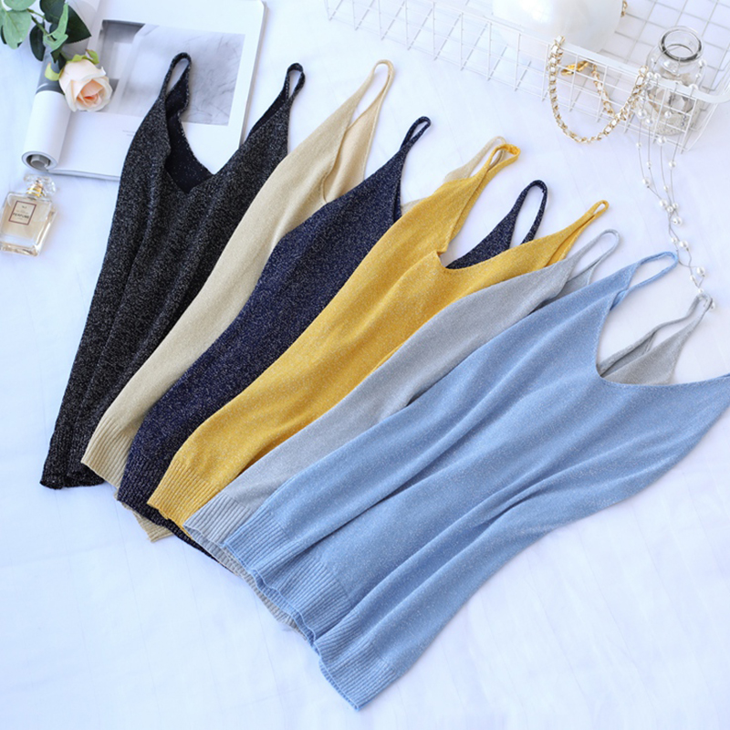 Crop   Tops   2019 Summer New Solid Stitching V-neck Camis Female Knitted Short Section Slim Outer Wear Shirt Trend   Tank     Tops