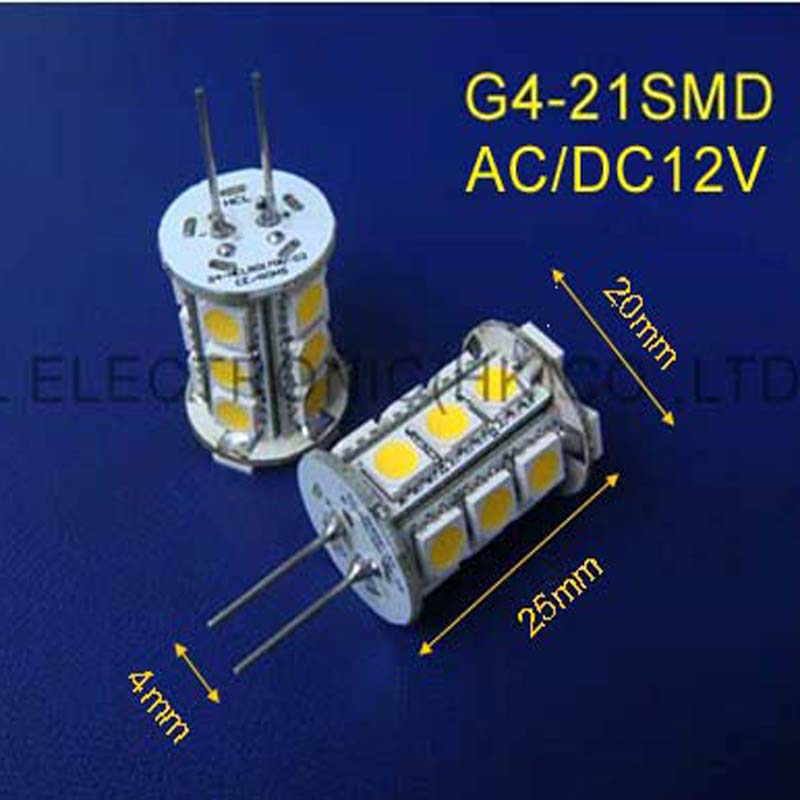 Light Bulbs free Shipping 50pcs/lot High Quality 21pcs 5050smd Led G4 Lights