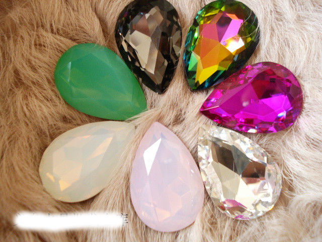 Rainbow/Rose/White Pink Opal Teardrop Crystal Fancy Stone Point Back Glass Stone For DIY Jewelry.10*14mm 13*18mm 18*25mm 20*30mm