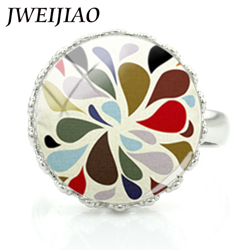 JWEIJIAO Colorful Geometric Drawing Glass Cabochon Dome Ring Women Girls Fashion Rings Party Jewelry Best friend Gift A367 image