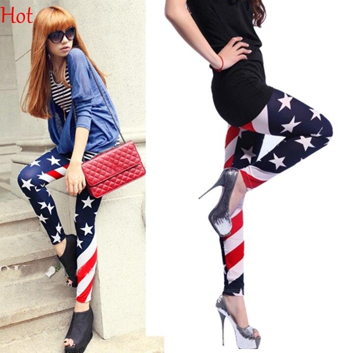 Hot Design High Elastic Striped Stars Leggings USA Flag Leggings Patterned Print Fashion Slim Fit Pants For Women Leggings 5887