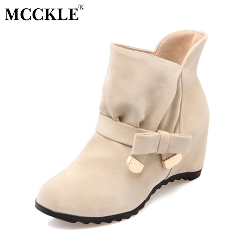 MCCKLE Women Suede Height Increasing Slip On Ankle Boots Female Butterfly-knot Mid High Casual Shoes Woman Black Flock Boots mcckle women high heels ankle boots female buckle slip on suede shoes woman platform spring autumn casual shoes black size 35 39