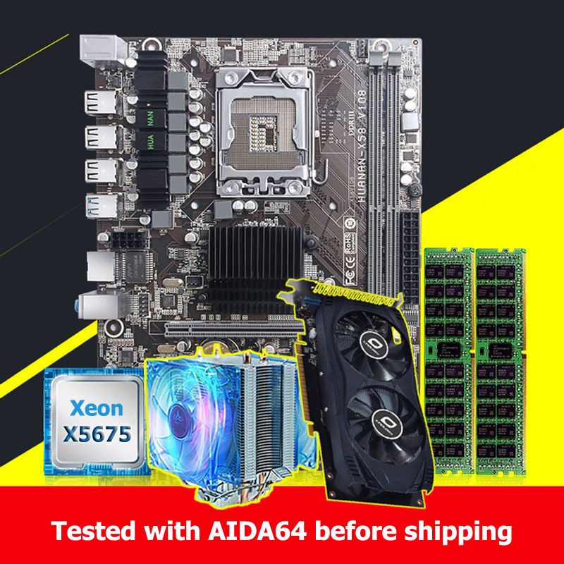 Boa qualidade huanan zhi x58 placa-mãe com cpu intel xeon x5675 3.06 ghz 16g (2*8g) placa de vídeo gpu memória reg ecc gtx750ti 2gd5