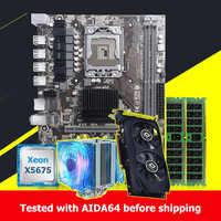 Buena calidad HUANAN ZHI X58 placa base con CPU Intel Xeon X5675 3,06 GHz 16G (2*8G) REG ECC memoria tarjeta de video GPU GTX750Ti 2GD5