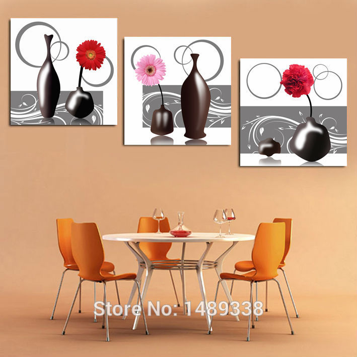 3 pieces free shipping hot sell modern wall painting vase kitchen decor decorative art picture - Sell home decor online collection ...