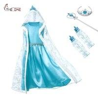 MUABABY Girls Elsa Costume Kids Girl Snow Queen Princess Dress With Hooded Coat Children Halloween Party