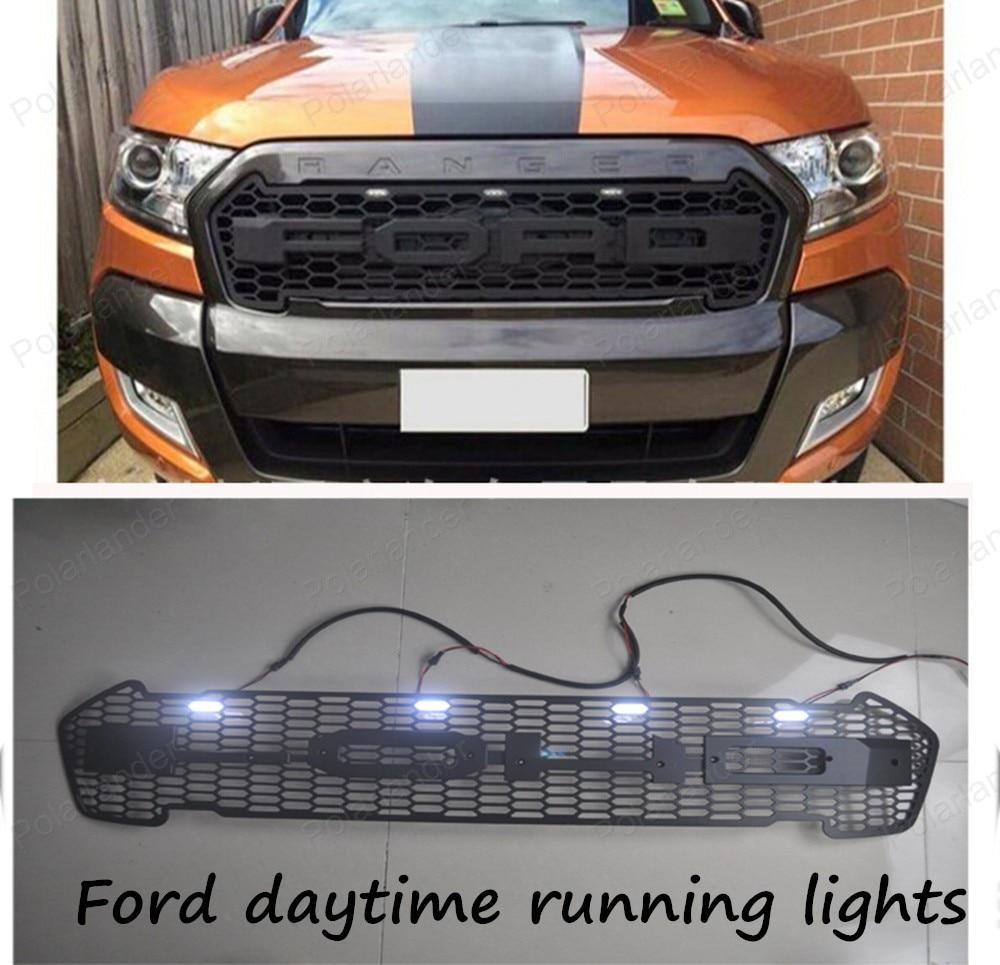 HIGH QUALITY RANGER FRONT PROTOR BLACK LIT GRILL with LED day light FOR Ford RANGER 2015