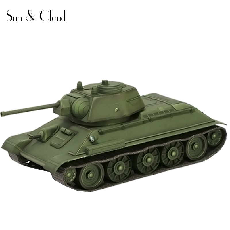 1:35 Russia Soviets 3D T-34 Tank 1943 Limited Edition Paper Model Second World War Assemble Hand Work Puzzle Game DIY Kids Toy